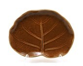 RESERVED FOR NOLAVIEJO: Large Brown Ceramic Leaf Plate (Playera), Unique Pottery Gift for Her