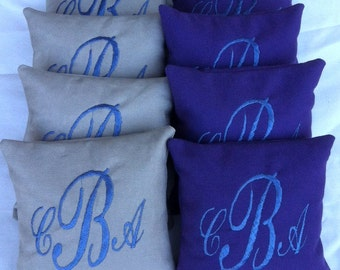 Embroidered Monogrammed Corn Hole Bags Set of 8