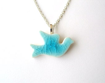 Turquoise Dove necklace ceramic silver plated chain or vegan suede