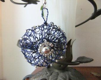 Silver and Blue Wire Crochet Earrings