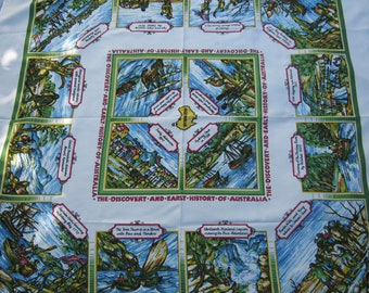 On Sale - 1960s Vintage Australian Tablecloth the Discovery of Australia