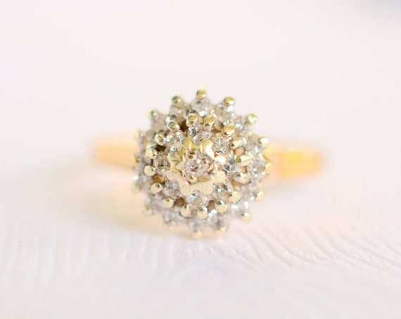 RESERVED /// 1980s vintage / diamond cluster 9k solid gold ring // BRIGHT