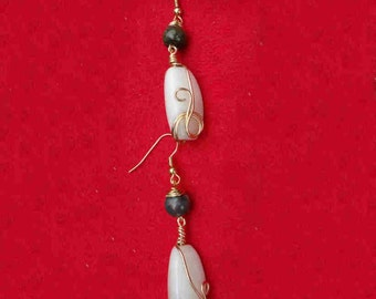 Agate Wire Wrapped Earrings made from Thai Beggars Beads.