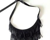 Beaded  Fringe Tassels Black Necklace Shirt, Blouse, Dress Collar with  Satin Tying.