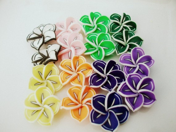 Muliti colored  Fimo Polymer Clay Flowers / pink / orange /green/ pink