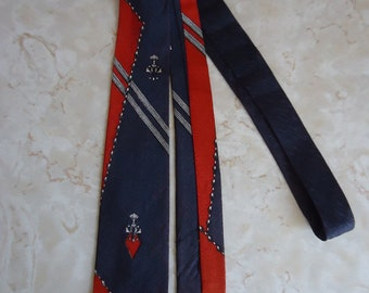 1950s Mens Blue and Red Rayon Necktie RocknRoll VLV Rockabilly