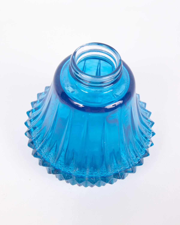 vintage blue glass oil lamp base lamp parts vase teal blue art. Black Bedroom Furniture Sets. Home Design Ideas