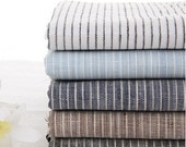 Pure Linen Fabric Flax Fabric Stripe Fabric White Navy Blue Black Brown Stripe Linen-  A half yard (G24)