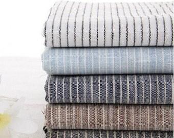 Pure Linen Fabric Flax Stripe White Navy Blue Black Brown A