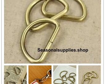 10Pcs D-ring - For Craft Bag Purse, 20mm 25mm 32mm 38mm Antique Brass, Silver Color for choice-- T49