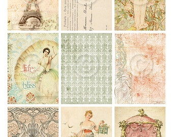 Shabby French ATC backgrounds Collage Sheet Printable Instant Digital Download File