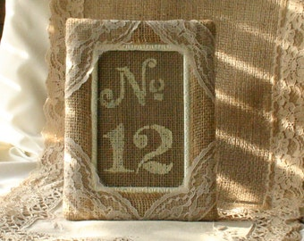 burlap table number frame wedding photo frame photo booth frames rustic country shabby chic french country wedding