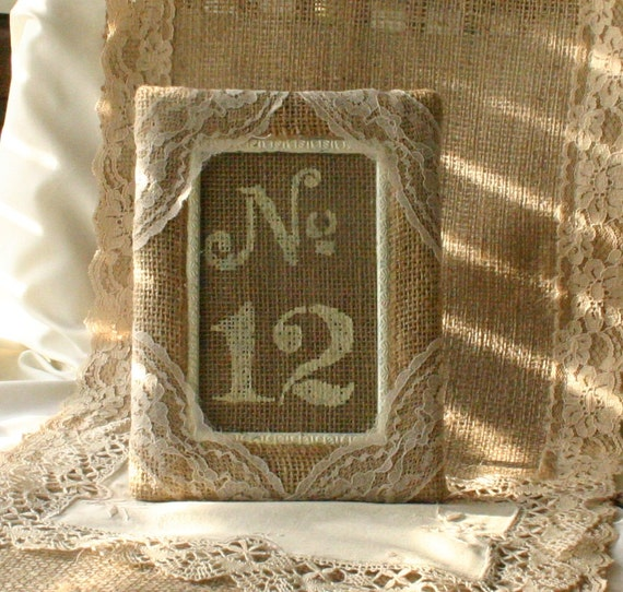 Burlap table number frame, Wedding photo frame, photo booth frames, rustic, country, shabby chic. French country wedding