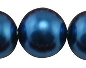 50 ct Faux Pearl Glass Czech 6mm Imitation Pearl Bead - Navy Blue