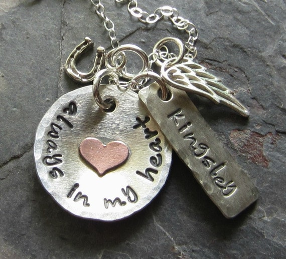 Horse Memorial Necklace Hand Stamped Horse Personalized