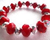 Red Velvet Crystal and Silver Chunky Stretch Bracelet