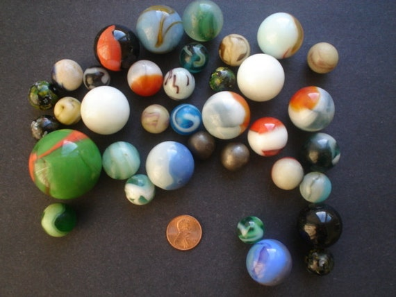 Lot 36 Vintage Marbles Very Large To Small Some Very Good