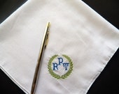 Personalized Mens Monogrammed Handkerchiefs Wedding  Set of 3.