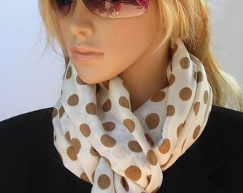 Wrap shawl - Long Scarf - lightweight Scarf  -  white and mustard Polka dot  and leopard
