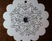 8 Jewelled White Snowflake Tags Reserved