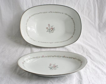 Vintage Noritake China Mayfair 6019 Vegetable Bowl and Relish Dish Set - White with Rose Pattern
