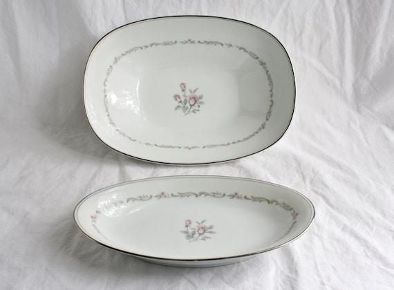 Vintage Noritake China Mayfair 6019 Vegetable Bowl and Relish Dish Set - White with Rose Pattern