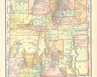 vintage Map of New Mexico, beautiful old map