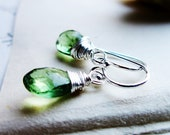 Green Apatite Earrings, Sterling Silver, green gemstone, silver earrings, dangle,
