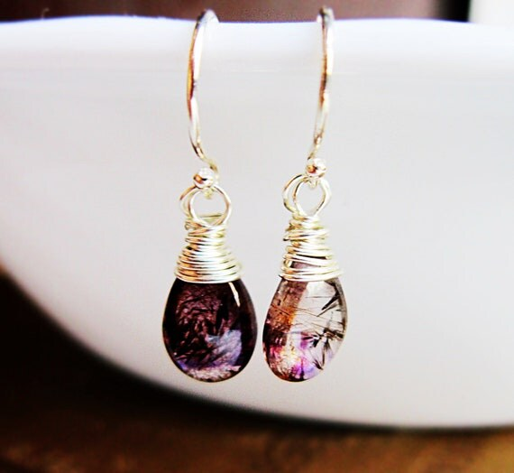 Moss Amethyst Earrings Sterling Silver wire wrap dangle Violet purple copper Nebula Unique gemstone