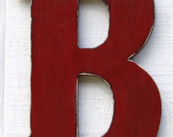 "Nursery Decor Wooden letter ""B"" 12 Inch Tall Kids Room Decor  Distressed in Rust Red Solid Wood Custom Made You Pick Letter and Color"