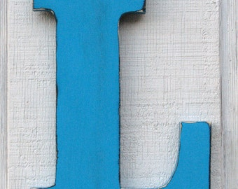 Rustic Wooden Letter L Distressed in Island Blue,12 Inch Tall Solid Wood Name Letters, Custom Made Any Letter and Color