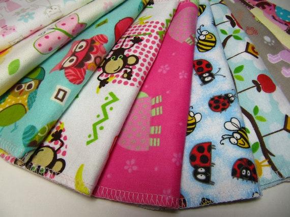 Cloth Napkins, Lunchbox Napkins, 10 Girls Animal Napkins, Back To School