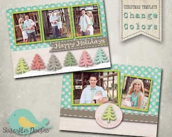 Christmas Card PHOTOSHOP TEMPLATE - Family Christmas Card JOY