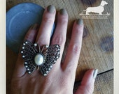 CLEARANCE! Pearl Monarch. Adjustable Ring -- (Vintage-Style, Antiqued Brass, Butterfly, Moth, Pearl, Rustic, Boho, Summer, Gift Under 5)