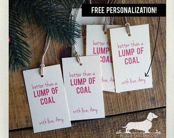 Lump of Coal. Personalized Gift Tags (Set of 20) -- (Vintage-Style, Christmas Tags, Holiday Tags, Christmas Gift Wrap, Custom Tags, Funny)