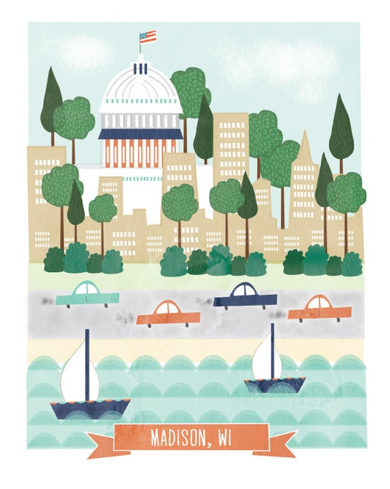 Madison Wisconsin - 11x14 print - city illustration poster wall decor children nursery art