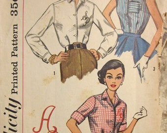Vintage 1950s  Simplicity 2195 Sewing Pattern Blouse with sleeve variations and Letter Transfer Size 16 Bust 36