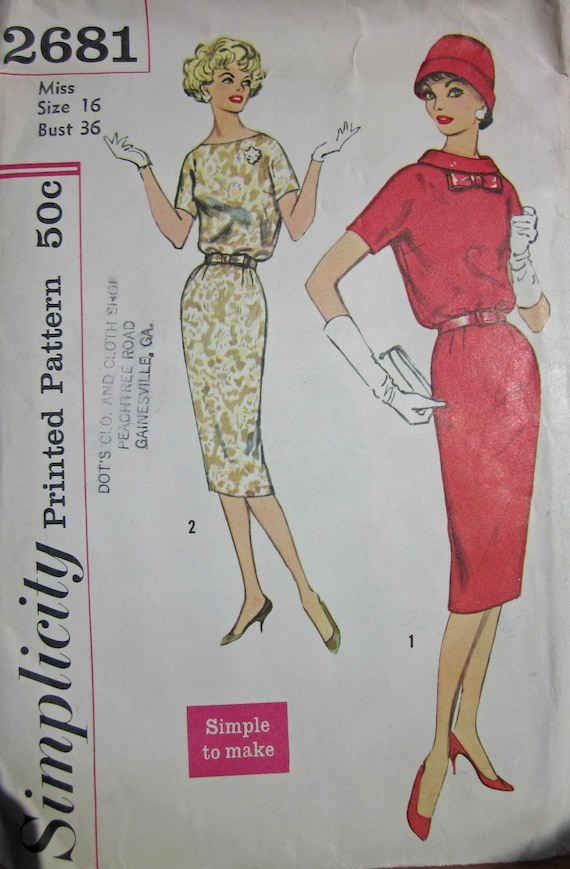 Vintage 1950s Sewing Pattern Simplicity 2681 Sheath Dress with Bateau neckline or Rolled Collar  Size 16 Bust 36