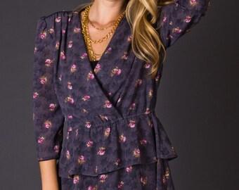 SALE 50% OFF Vintage 80s Smoky Plum Peplum Dress with Rosebud Print