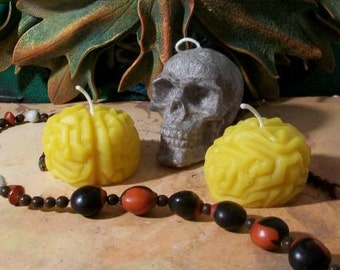 Brain Zombie Brain Beeswax Candles Set of 3 Choice Of Color
