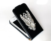 iPhone 4 and 4s Gothic Flip Case - Swarovski Crystals iPhone Case - Silver Angel Wings iPhone cover - LeBoudoirNoir