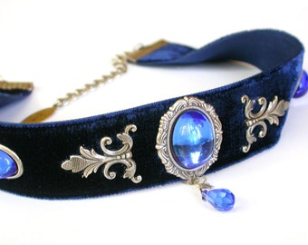Blue Velvet Victorian Choker - Sapphire Glass Jewel -  Swarovski crystal - Women Gothic Jewelry