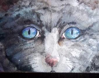 Crystal Blues, ACEO Original watercolor