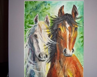 Mane Event, Original Watercolor, matted, FREE SHIPPING