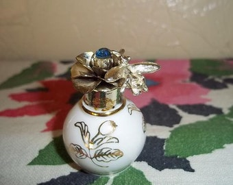 Bee on a Rose Porcelain Perfume Bottle