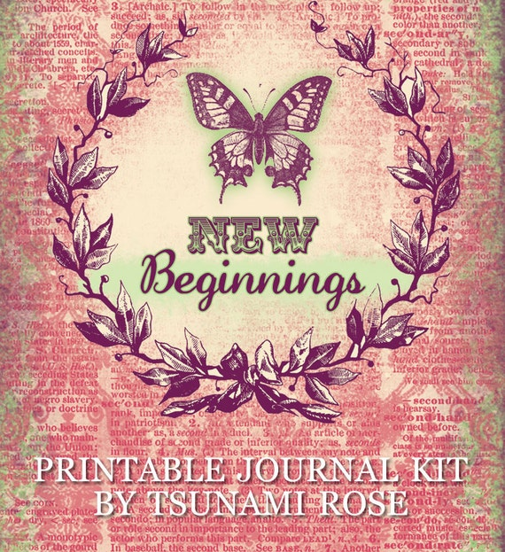 Printable Journal Kit - New Beginnings - 27 page Instant Download - butterfly junk journal kit, digital download, journal pages