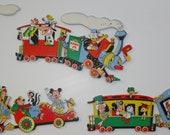 Vintage Walt Disney MICKEY MINNIE Dumbo Pinnochio Donald Train Nursery Baby Room Wall Decor Set