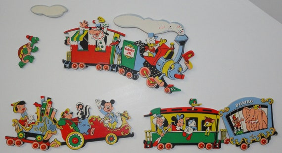 Vintage Walt Disney MICKEY MINNIE Dumbo Pinnochio Donald Train Nursery Baby Room Wall Decor Set