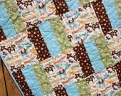 Blue, Green & Brown Blanket Mod Tod Baby Boy Quilt