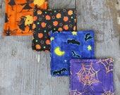 Halloween Reversible Quilted Fabric Coasters - Set of 4
